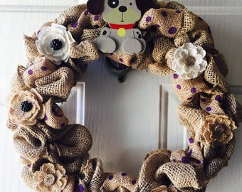 Wreath - Burlap & Ribbon Dog Wreath