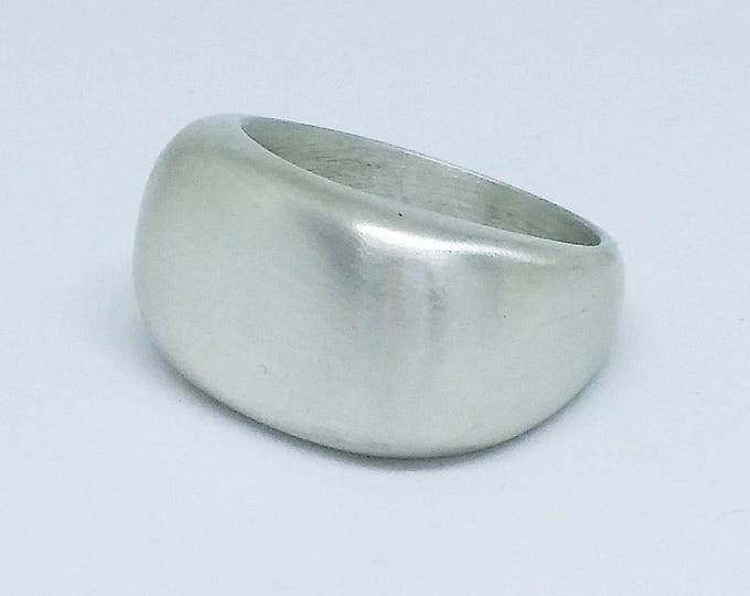 Sterling silver chunky signet style ring in a matte finish