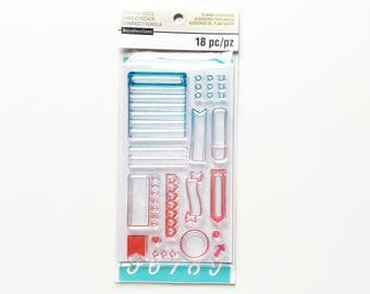 Clear Rubber Stamps and Stencil for Planners / Scrapbooking / Bullet Journals