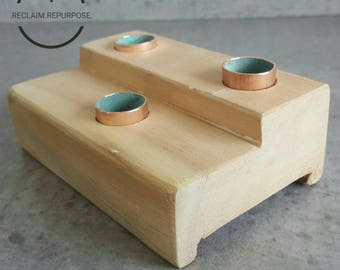 Light wood trio candle holder / reclaimed / locally sourced / gift / house warming / anniversary /