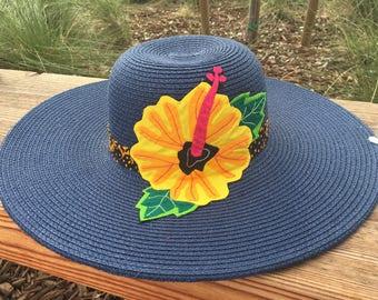 Navy Sun Hat w/ Panamanian Guna Yellow and Orange Mola Flower & Saburet Fabric Band