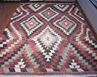 vintage,7'2x6'feet,floor rug,home decor,kilim rug,rustic decor,turkish kilim rug,home living,handwoven kilim rug,decorative rug,
