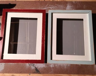 set- hand painted and distressed wood shadow boxes robin's egg and rustic red