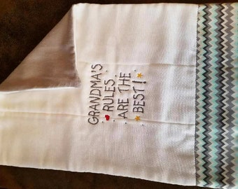 Grandma's Rules Embroidered Burp Cloth