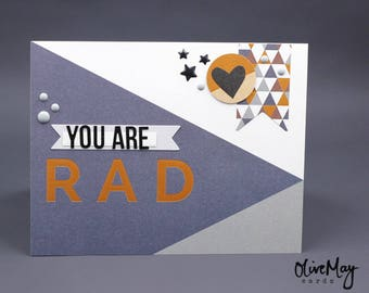 """Grey and navy, copper foil """"you are rad"""" greeting card"""