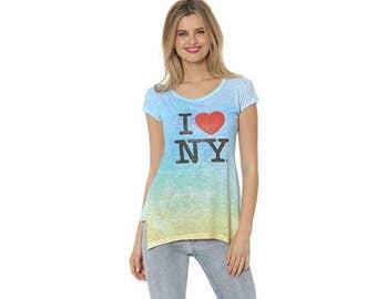 New York City, I love New York, New York t-shirt, ILNY Tunic, Women's shirt, Blue-Green Women's tee, New York tunic, Ladies NYC t-shirt
