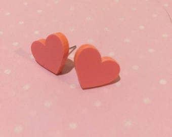 Pastel Peach Acrylic Heart Stud Earrings