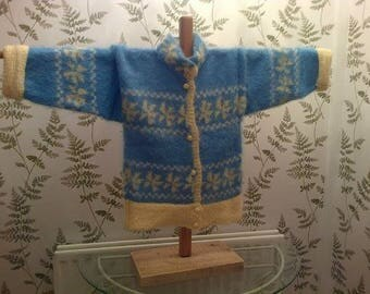 Ladies sky blue and daffodil yellow designer mohair jacket size 12