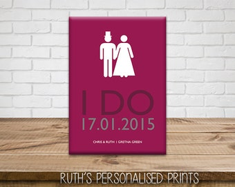 "A4 Wedding ""I DO"" Canvas"