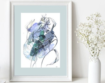 Original watercolor painting / Flowers as color of spring sky / Watercolor flowers / Blue and grey wall art / Home decoration