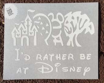 I'd Rather Be at Disney Vinyl Decal * Disney Theme Park Icons Decal * Disney VInyl Decal