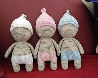 Amigurumi baby doll, doll, doll crochet pink