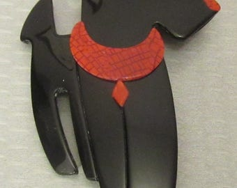 Lea Stein Paris RIC AIREDALE TERRIER jet black dog in red collar cellulose acetate plastic brooch pin
