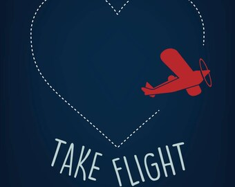 Let Your Dreams Take Flight, Print, Baby Boy Nursery Art, Wall Art, Playroom Decor, Baby Boy Art