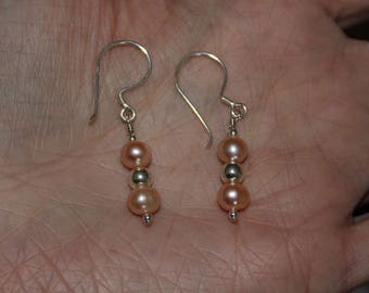 Pale Pink Freshwater Pearl Earrings with Sterling Ball
