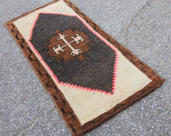 Antique Tribal Oushak Hand Knotted Turkish Rug - 1′7″ × 3′2″