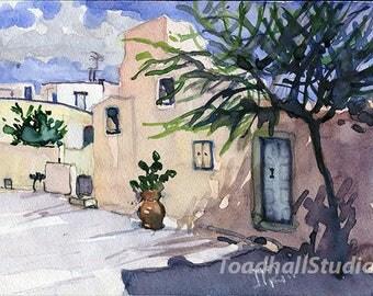 Santorini watercolor print,architecture,Greece,printable art.