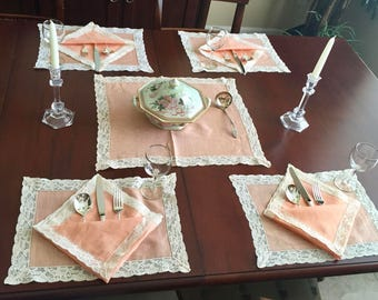 Beautiful 25pc Linen and Lace Table Setting, Runner, Placemats, Napkins, Ecru, Beige, Peach, Pink