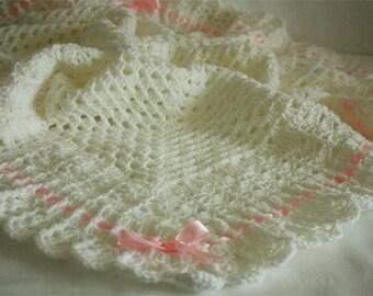 Crochet Baby Blanket / Afghan White Christening, Baptism, Baby Granny Square Crochet Blanket, Baby Shower Gift, Baby Girl Satin Ribbon