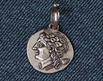 Slavey Art Silver Medallion with an Ancient Coin Replica (Heraklea)