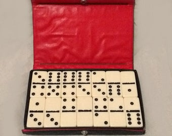 Vintage Dominoes 1970s Double Sixes 28 Pieces