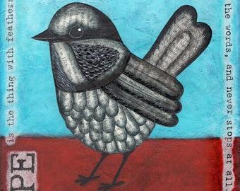 Hope Bird Mixed Media Art Print