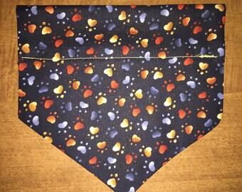 Gold & Orange Mini Paw Print Square Over the Collar Dog Bandana