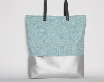 canvas tote bag - metallic silver, shoulder bag, handbag, shoulder bag, canvas tote bag-paisley leather vegan, leather bag, crossbody bag