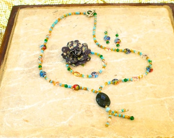 Glass and Turquoise Jewelry Set