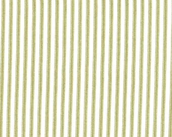 Anne of Green Gables Green Ticking Stripe Print on Ivory 100% Cotton Fabric - FQ