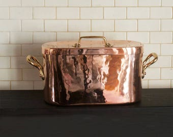 Antique French Rectangular Copper Casserole with Cover
