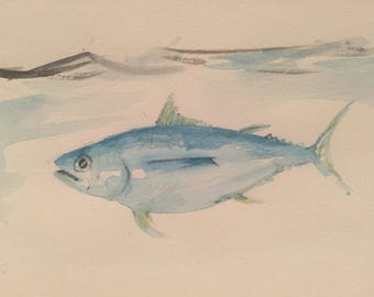 Original watercolor artwork - Blue Fish