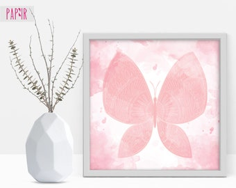 Butterfly Wall Art | watercolor butterfly, butterfly printable, watercolor clipart, pink butterfly, nursery animals
