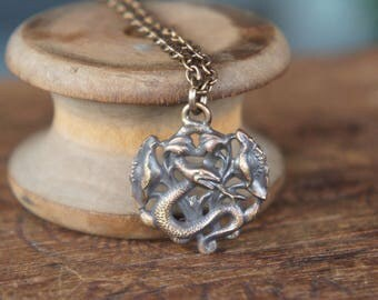 Entwined Snake garden of Eden French Brass Pendant Necklace