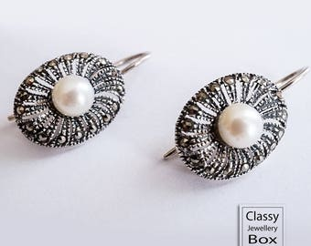 Vintage Style Sterling Silver, Marcasite, White Freshwater Pearl Drop Earrings, jewelry, unique jewelry, vintage jewelry, natural pearl