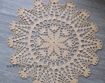 Beige crochet doily lace cotton handmade doily vintage doily 15 Inches round doily, doilies, beige doily