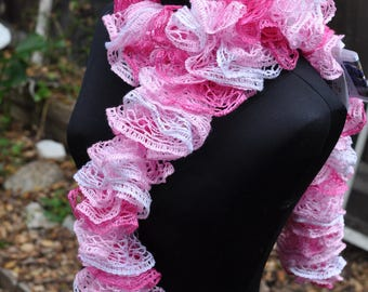 Shades of pink ruffle scarf crocheted by hand and made with love