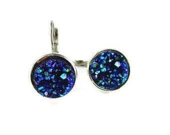 Blue Druzy drop earrings,druzy jewelry,Mariana jewelry,dangle drop earrings,girls,tween,wedding,prom,bridesmaids jewelry