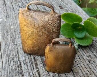 2 Vintage Gold Cow Bells // Rustic Cowbell Farmhouse Decor // Wedding Decor