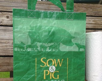 Recycled Feed Bag Tote, reusable tote bag, grocery tote, recycled shopping bag, reusable grocery bag, recycled tote bag, sow & pig