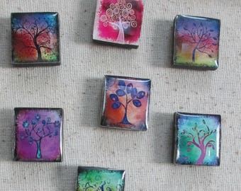 Tree Party 8 pc Magnet Set/ square wood base/ resin dome top/ super strong magnet/ memo board/ office décor