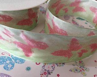 Butterfly ribbon, wired 40mm wide, by 1m lengths