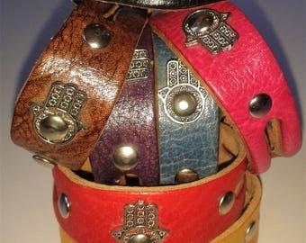 Hand of Fatima, Leather Bracelet, Buckle Fasten Bracelet