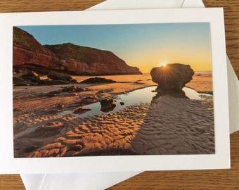 Exmouth, Devon sunrise photography greetings card
