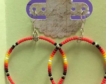 "2"" Beaded Hoops (orange, red, yellow, white)"
