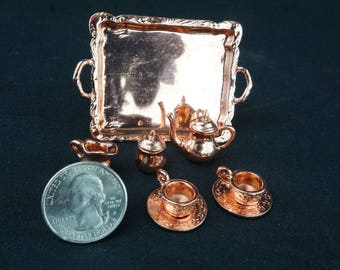 Copper Tea Set: Handley House, fairy garden supplies, fairy garden, dollhouse, miniature, Aztec
