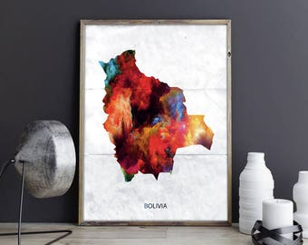 Bolivia Art Bolivia Wall Art Bolivia Wall Decor Bolivia Photo Bolivia Print Bolivia Poster Bolivia Map Bolivia Country Map Watercolor Map