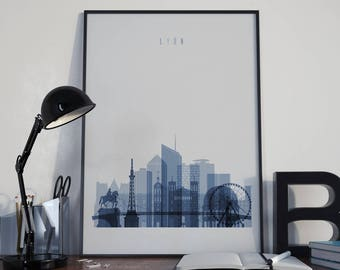 Lyon Art Lyon Watercolor Lyon Multicolor Lyon Wall Art Lyon Wall Decor Lyon Home Decor Lyon Skyline Lyon Print Lyon Poster Lyon Photo