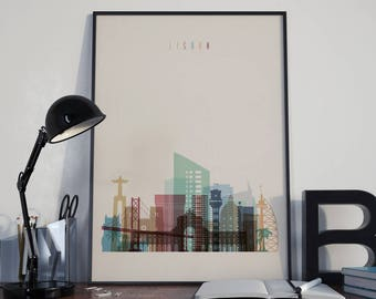 Lisbon Art Lisbon Watercolor Lisbon Wall Art Lisbon Multicolor Lisbon Skyline Lisbon Wall Decor Lisbon Poster Lisbon Home Decor Lisbon Print