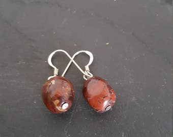 Handmade Red Jasper and Sterling silver earrings